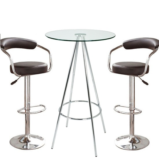 Glass Bar Stools: Amber Clear Glass Bar Table With 2 Zenith Black Bar Stools 1