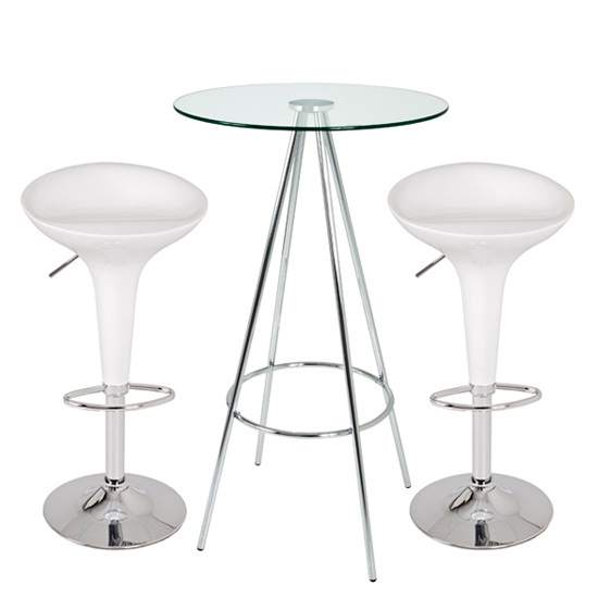 Amber Clear Glass Bar Table With 2 Bamboo White Bar Stools
