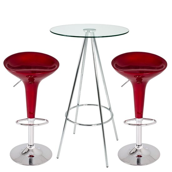 Glass Bar Stools: Square Glass Breakfast Bar Table + 2 Cindy Bar Stools
