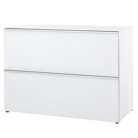 Amber Drawer Chest In White With Glass Top And Fronts
