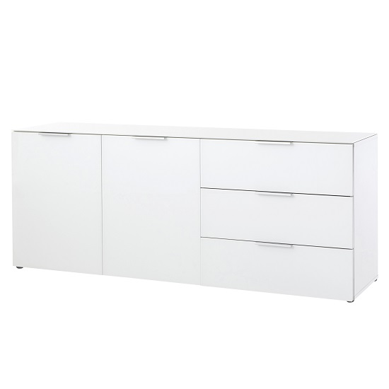 Amber 2 Door Sideboard In White With Glass Top And Fronts