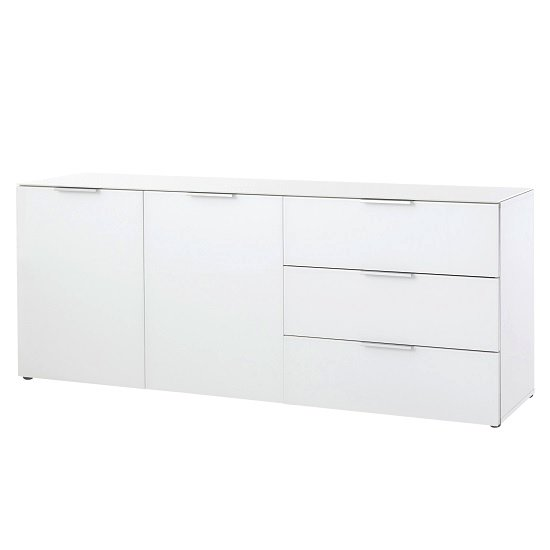 Amber 2 Door Sideboard In White With Glass Top And Fronts_1
