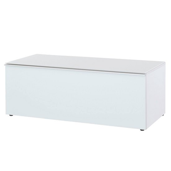 amber lowboard tv stand in white with glass fronts 30367. Black Bedroom Furniture Sets. Home Design Ideas