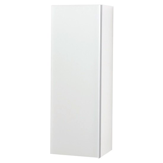Amber Wall Mounted Tall Storage Cabinet In White And Glass Front
