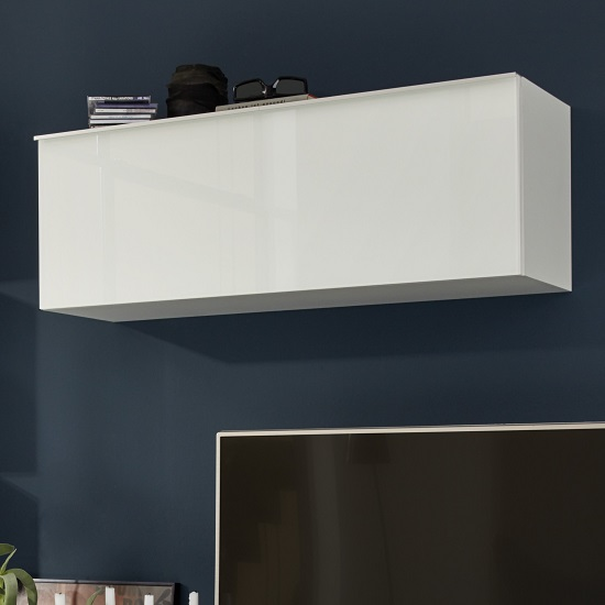 Amber Wall Mounted Storage Cabinet In White With Glass Fronts