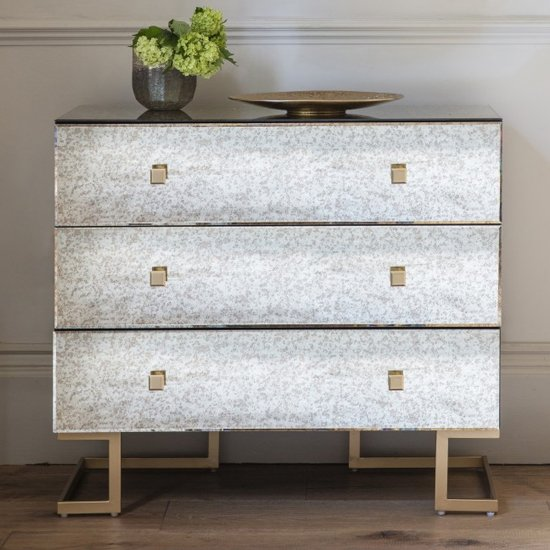 Amberley Wooden Wide Chest Of Drawers With 3 Drawers