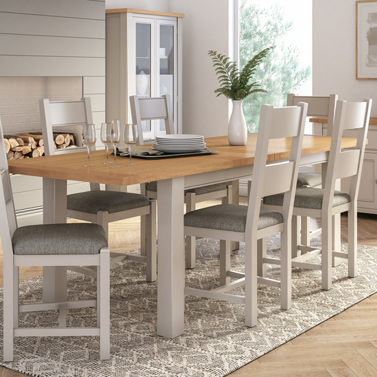 View Amberly extending 2400mm wooden dining table in grey