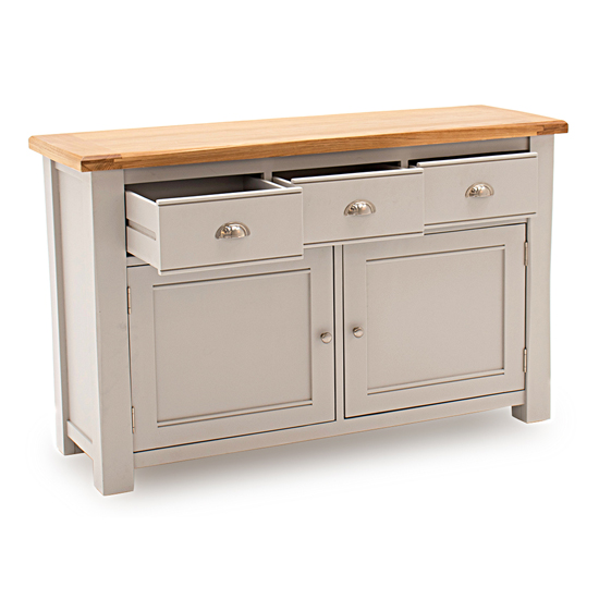 Amberly Large Wooden Sideboard In Grey With 2 Doors 3 Drawers_3