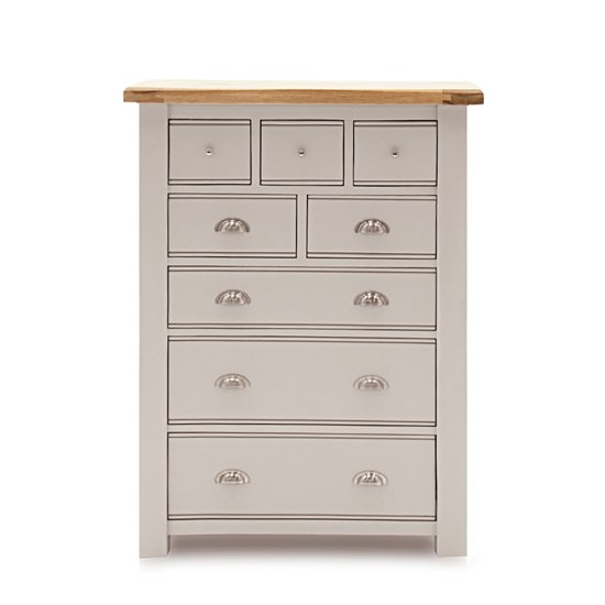 Amberly Tall Wooden Chest Of Drawers In Grey With 8 Drawers