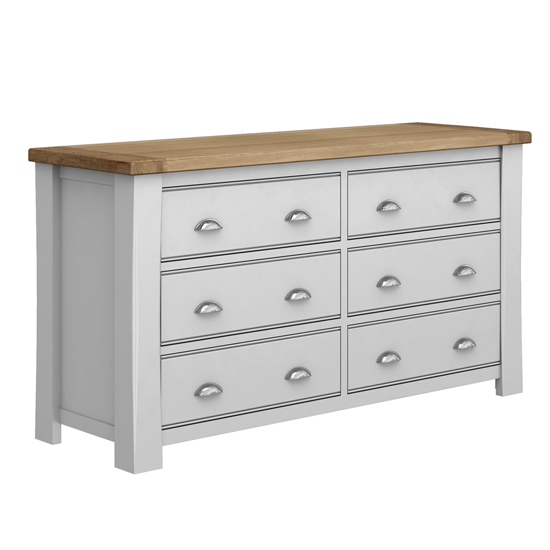 Amberly Wooden Chest Of Drawers In Grey With 6 Drawers