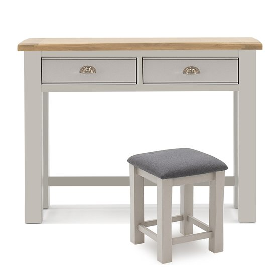 Amberly Wooden Dressing Table And Stool Set In Grey