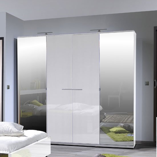 Sinatra White High Gloss Finish 4 Door Wardrobe With 2