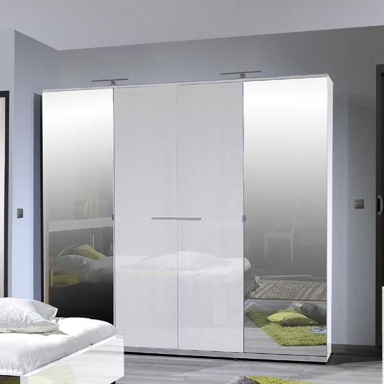 Sinatra White High Gloss Finish 4 Door Wardrobe With 2