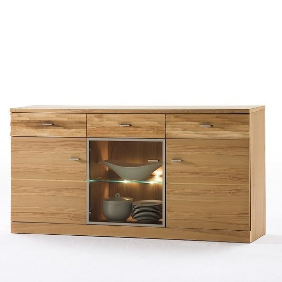 Amble Wooden Sideboard In Core Beech With 3 Doors With LED
