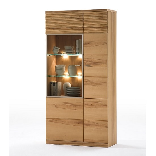 Amble Left Display Cabinet Wide In Core Beech With LED