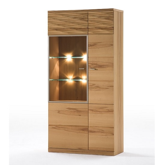 Amble Left Display Cabinet Wide In Core Beech With LED_2