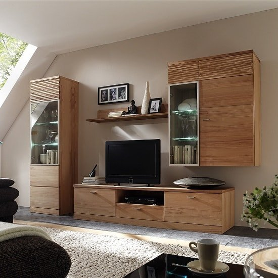 Amble Left Display Cabinet In Core Beech With 1 Door And LED_5