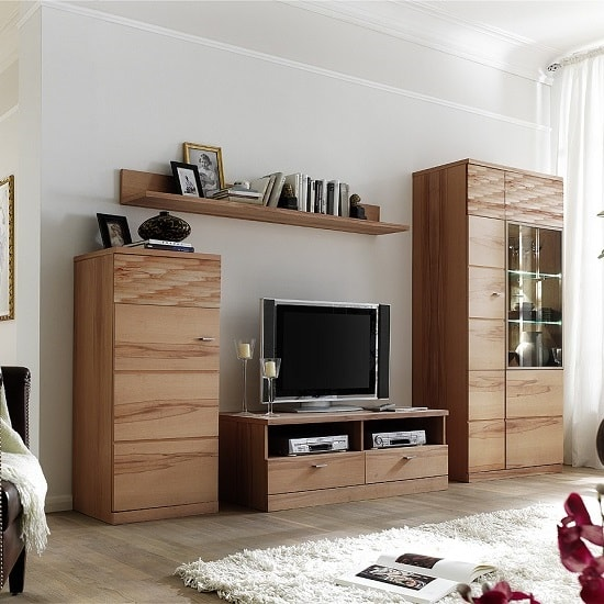 Amble Right Display Cabinet Wide In Core Beech With LED_4