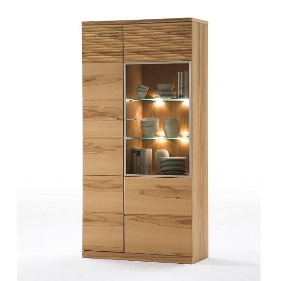 Amble Right Display Cabinet Wide In Core Beech With LED_1