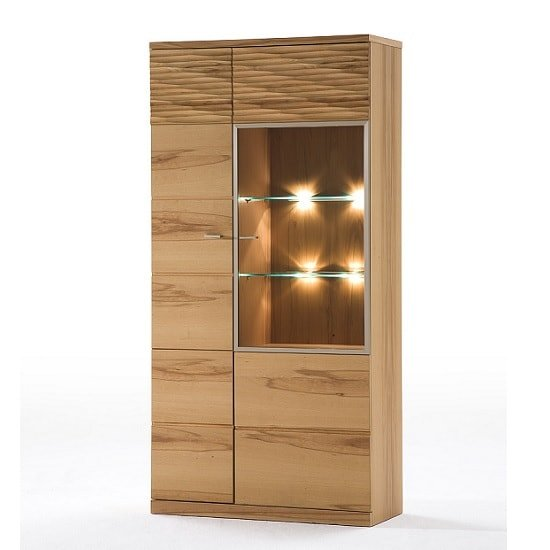 Amble Right Display Cabinet Wide In Core Beech With LED_2