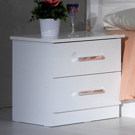 Ambra Wooden Bedside Cabinet In White High Gloss With 2 Drawers
