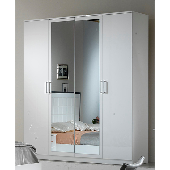 Ambra Wooden Wardrobe In White High Gloss With 4 Doors