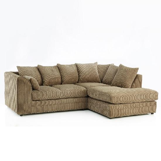 Ambrose Fabric Corner Sofa In Coffee With Black Feet