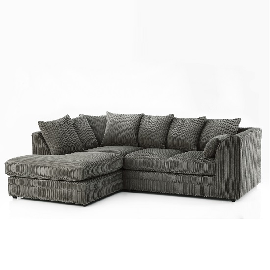 Ambrose Fabric Corner Sofa In Charcoal Grey
