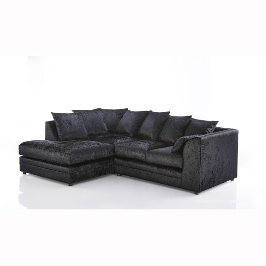 Ambrose Fabric Corner Sofa In Black Velvet With Round Feet