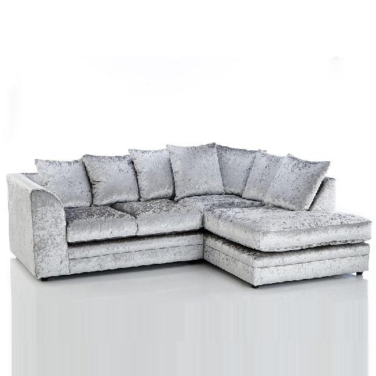 Ambrose Fabric Corner Sofa In Silver Velvet With Black Feet