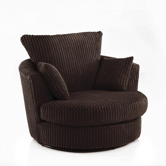 Image of Ambrose Swivel Sofa Chair In Chocolate Fabric With Metal Feet