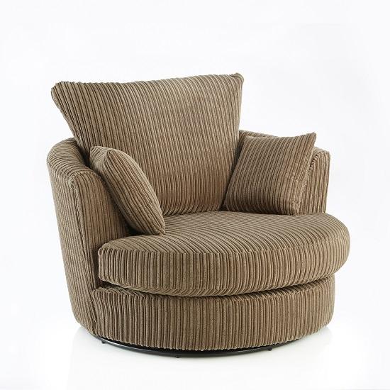 Image of Ambrose Swivel Sofa Chair In Coffee Fabric With Metal Feet