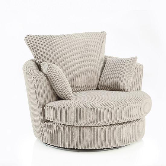 Image of Ambrose Swivel Sofa Chair In Cream Fabric With Metal Feet