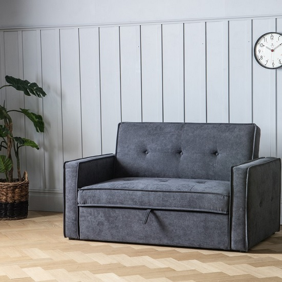 Ameland Contemporary Fabric Sofabed In Petrol Grey