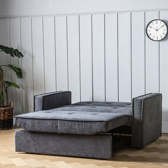 Ameland Contemporary Fabric Sofabed In Petrol Grey_2
