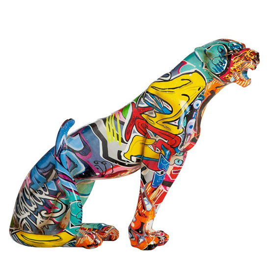 Ameli Leopard Pop Art Poly Design Sculpture In Multicolor_2