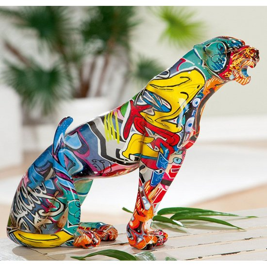 Ameli Leopard Pop Art Poly Design Sculpture In Multicolor_1