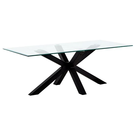 Amelia Clear Glass Coffee Table With Black Metal Legs