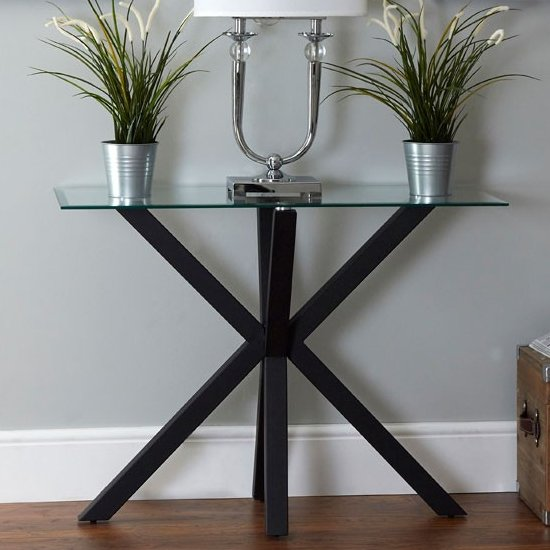Amelia Clear Glass Console Table With Black Metal Legs