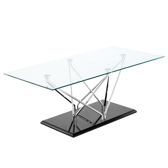 Amelia Glass Coffee Table Rectangular In Clear With Black Base