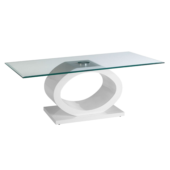 Amelia Glass Coffee Table With White High Gloss Wooden Base_1
