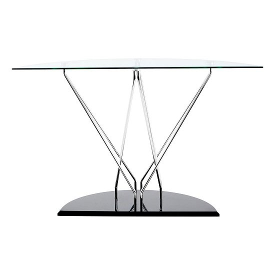 Amelia Glass Console Table Half Moon In Clear With Black Base_4