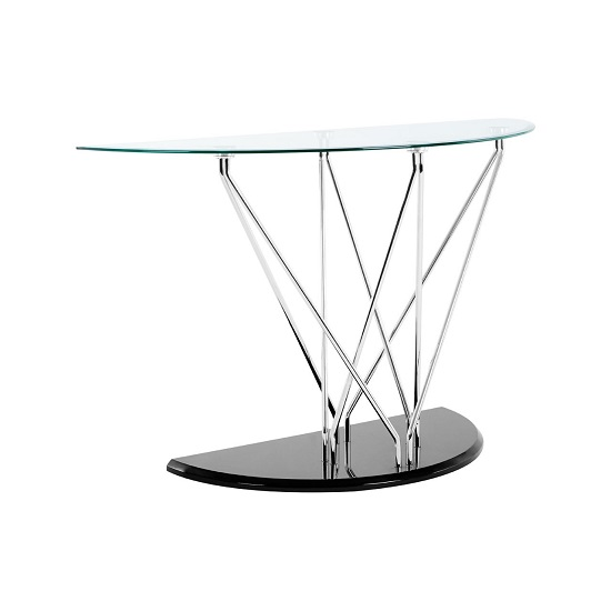 Amelia Glass Console Table Half Moon In Clear With Black Base_5