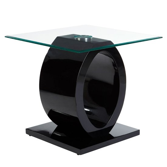 Amelia Glass Side Table With Black High Gloss Wooden Base
