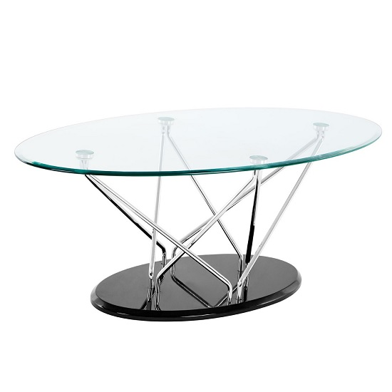 Amelia Glass Coffee Table Oval In Clear With Black Base