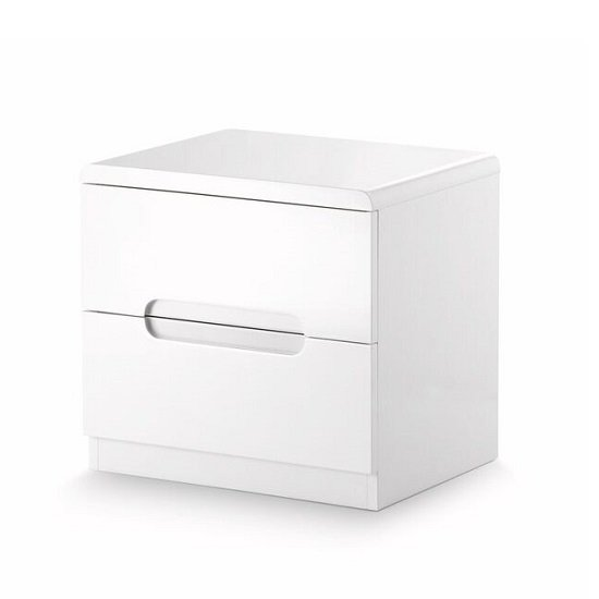 Arden Modern Bedside Cabinet In White High Gloss