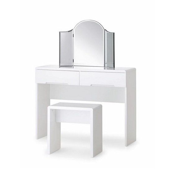 Arden Modern Dressing Table In White High Gloss With Stool