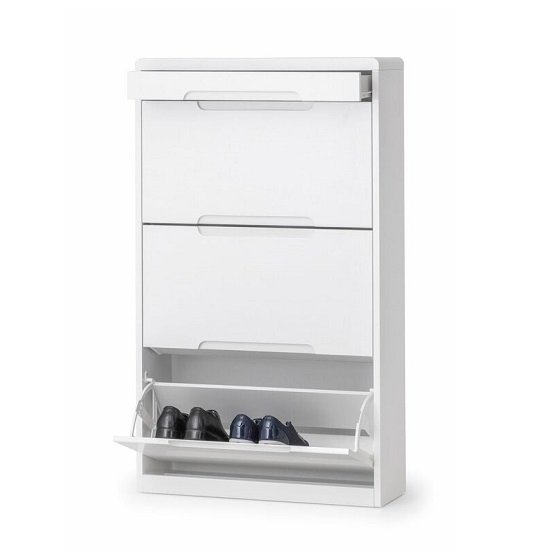 Arden Modern Shoe Storage Cabinet In White High Gloss