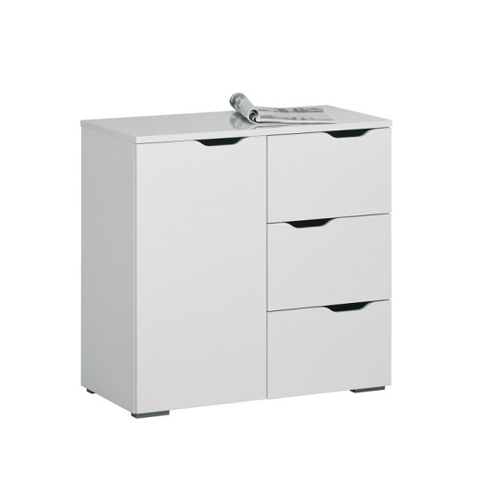 Mason Modern Compact Sideboard In White High Gloss