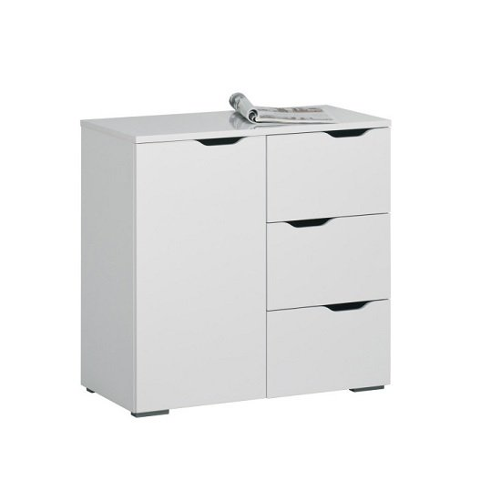 Amelie Modern Compact Sideboard In White High Gloss